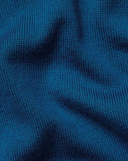 Merino V-Neck Sweater - Petrol Blue