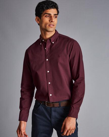 Button-Down Collar Washed Oxford Shirt - Dark Red Melange