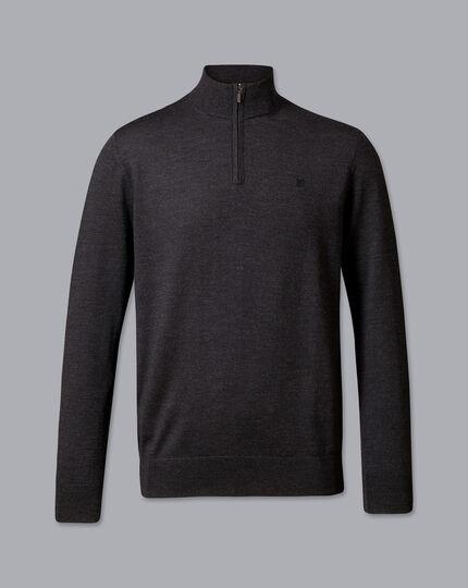 England Rugby Merino Zip Neck Sweater - Dark Charcoal