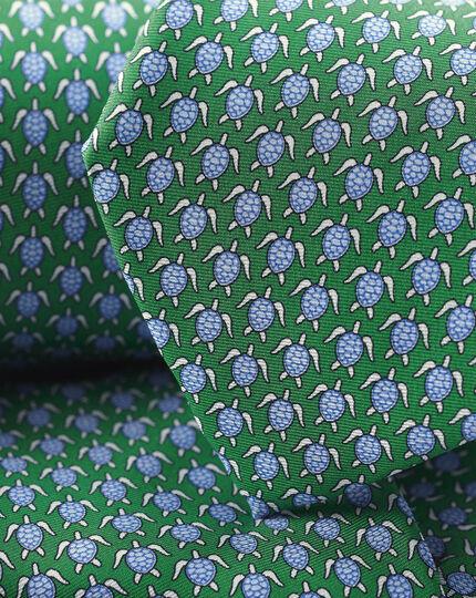 Turtle Print Tie - Green & Sky