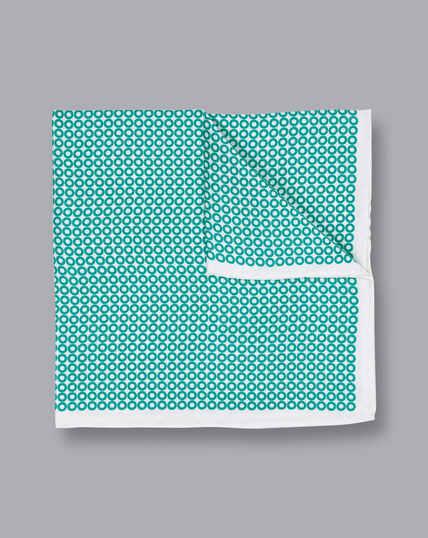 Hoop Print Pocket Square - Aqua