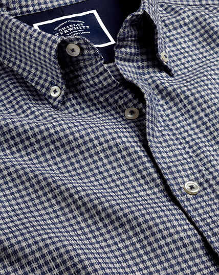 Button-Down Collar Non-Iron Twill Gingham Shirt - Navy & Grey