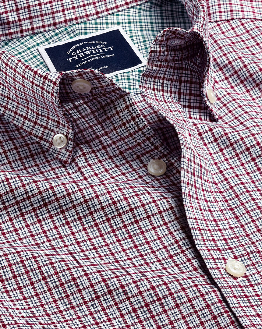 Button-Down Non-Iron Cotton Stretch Oxford Check Shirt - Dark Red Multi