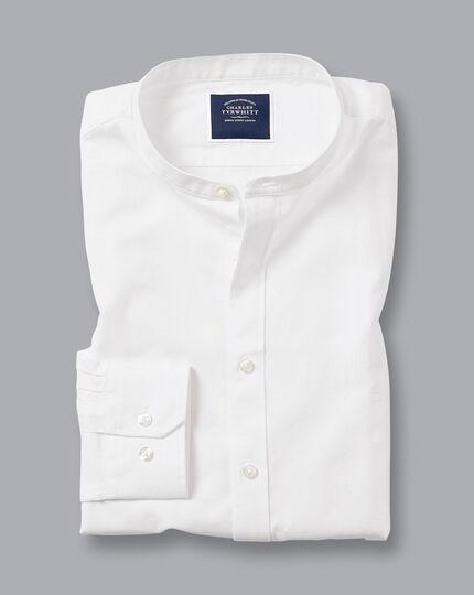 Collarless Cotton Linen Shirt - White