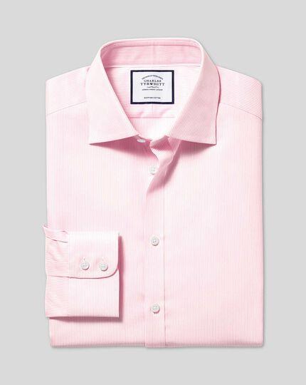 Twill-Hemd aus ägyptischer Baumwolle mit Semi-Haifischkragen und Bengal-Streifen - Rosa