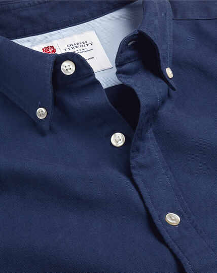 England Rugby Button-Down Collar Washed Oxford Shirt - Royal Blue