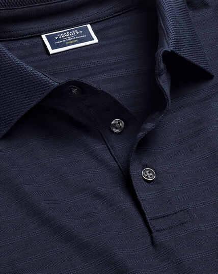 Tyrwhitt Cool Stripe Polo - Navy
