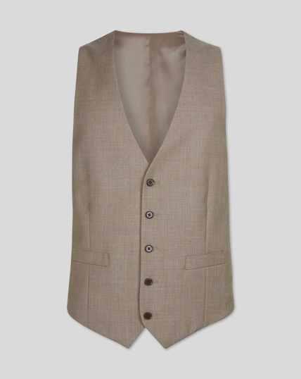 Twill Business Suit Vest - Fawn
