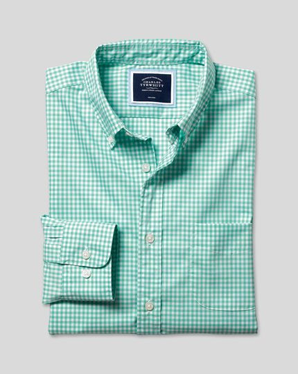 Button-Down Collar Non-Iron Stretch Poplin Gingham Shirt - Light Green