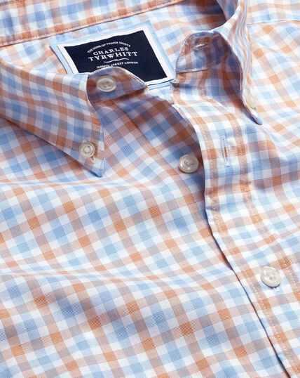 Button-Down Collar Non-Iron Stretch Poplin Gingham Short Sleeve Shirt - Orange & Blue