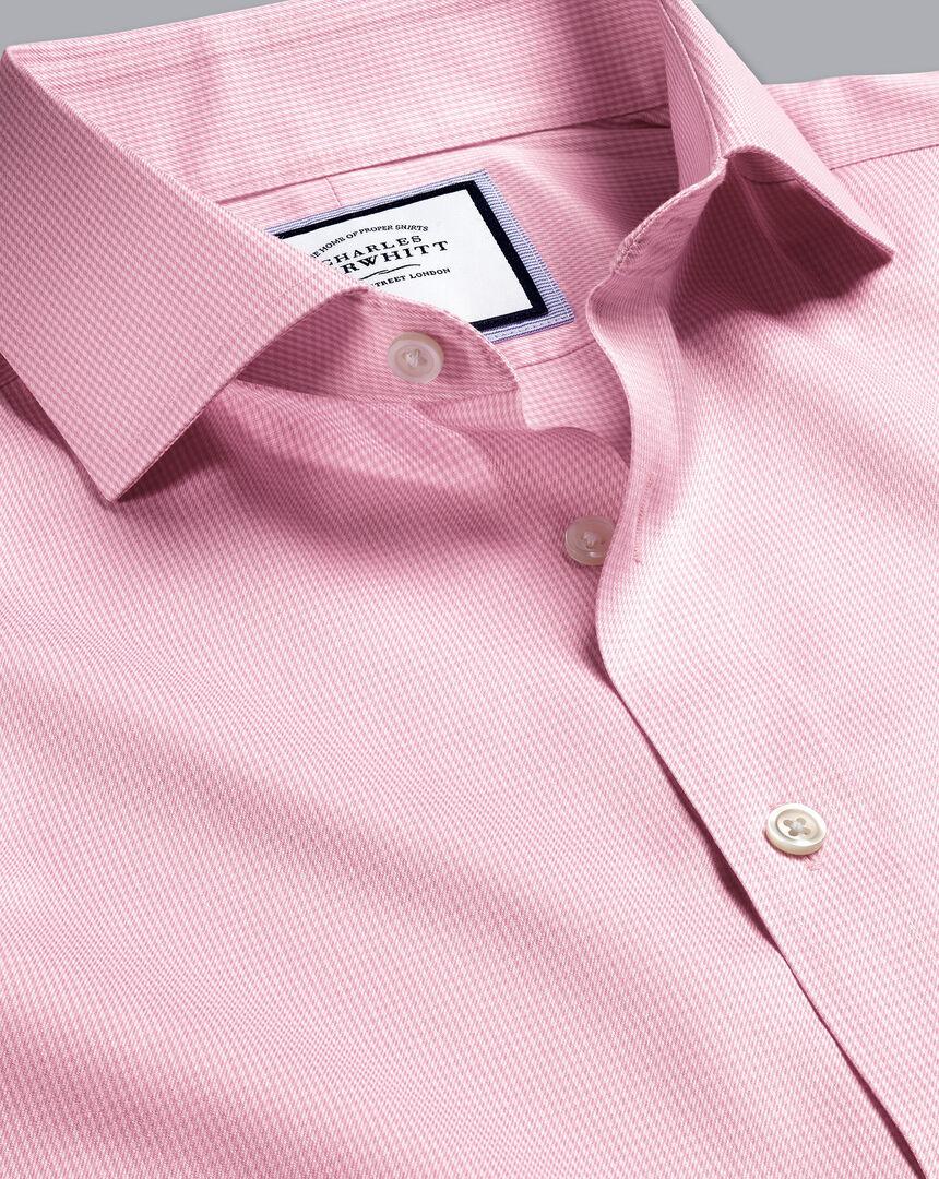 Spread Collar Non-Iron Twill Puppytooth Shirt - Pink