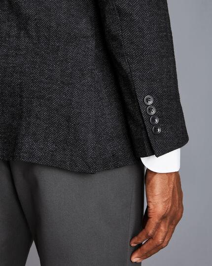 Italian Herringbone Jersey Jacket - Charcoal