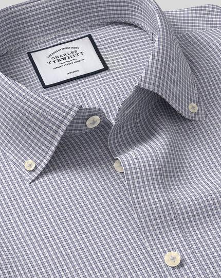 Button-Down Collar Non-Iron Check Shirt - Grey & Blue