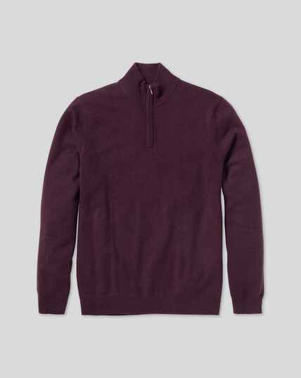 Cashmere Zip Neck Sweater - Wine