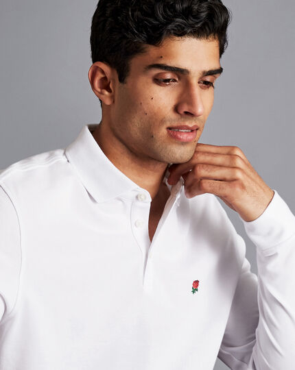 England Rugby Long Sleeve Pique Polo - White