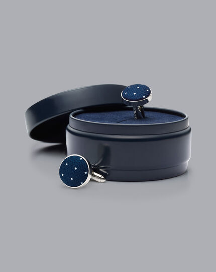 Runde Manschettenknöpfe mit Seide und Nadelpunkten - Marineblau