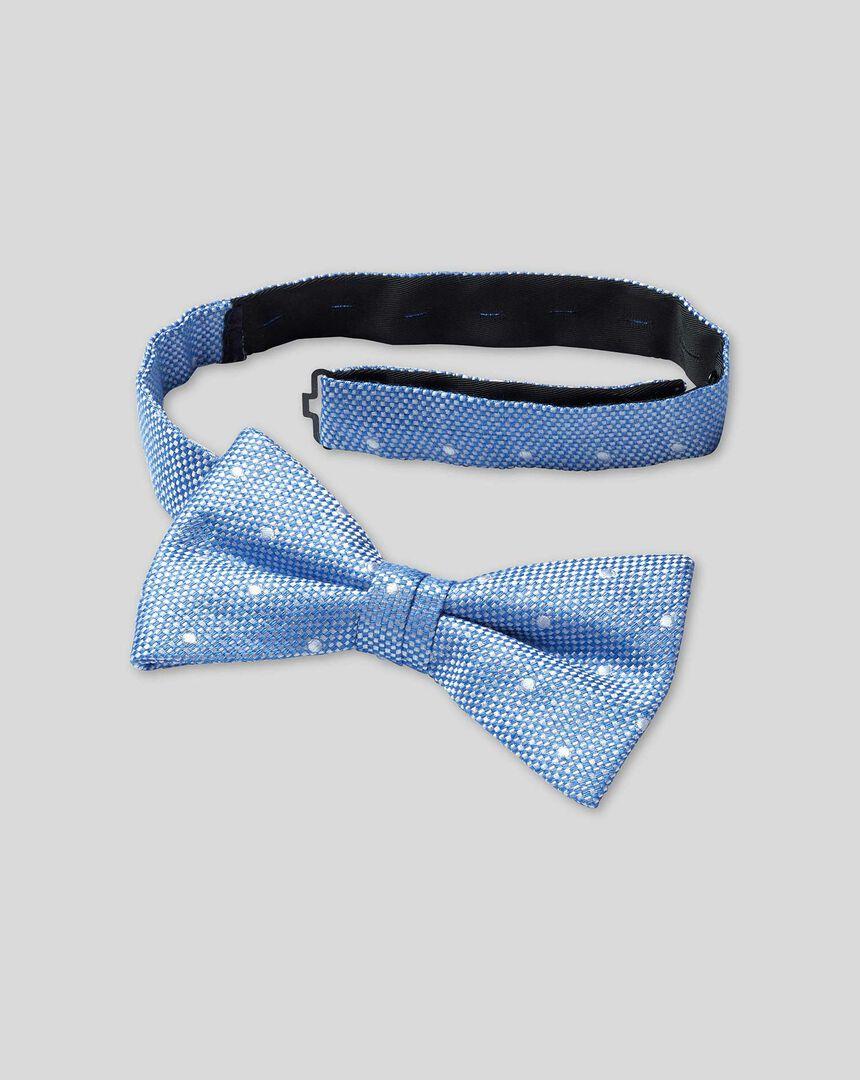 Silk Linen Spot Ready-Tied Bow Tie - Blue & White