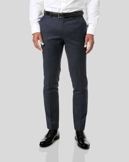 Italian Stripe Suit Trousers - Dark Blue