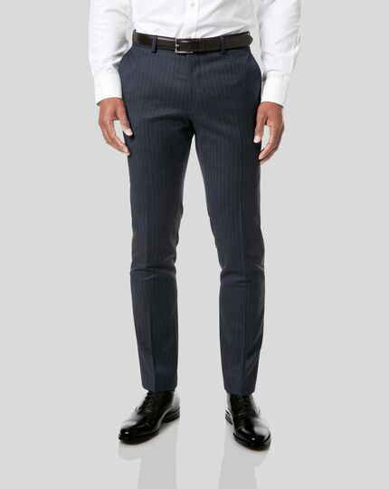 Italian Stripe Suit Pants - Dark Blue