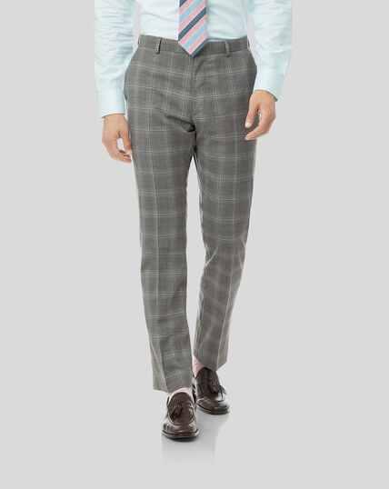 Check Suit Trousers - Light Grey