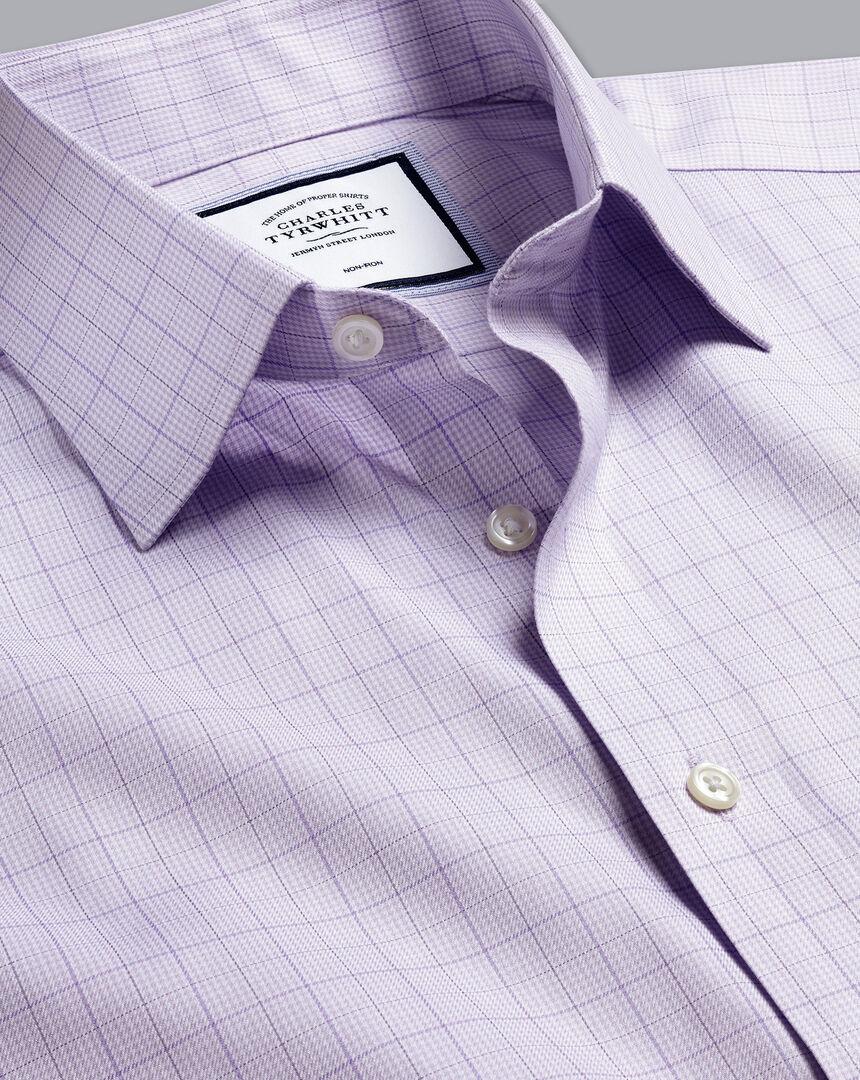 Non-Iron Twill Puppytooth Shirt - Lilac Purple