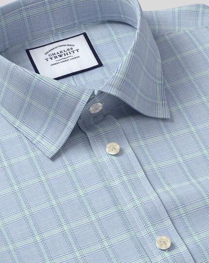 Classic Collar Egyptian Cotton Herringbone Shirt - Blue & Green