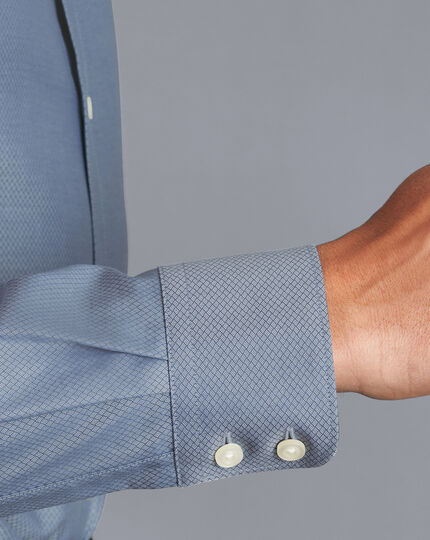 Semi-Spread Egyptian Cotton Deco Weave Shirt - Blue