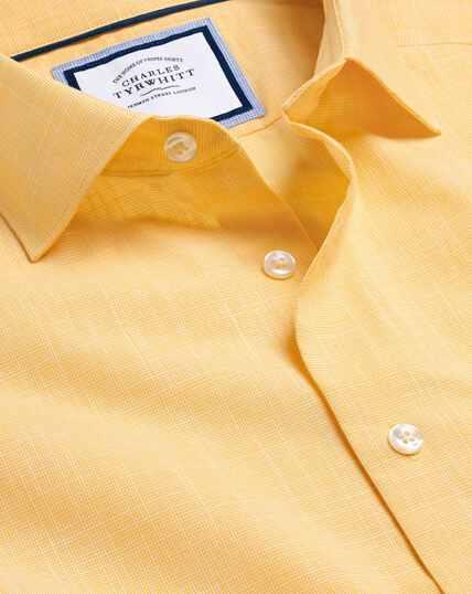 Smart Casual Collar Cotton Slub Shirt - Yellow