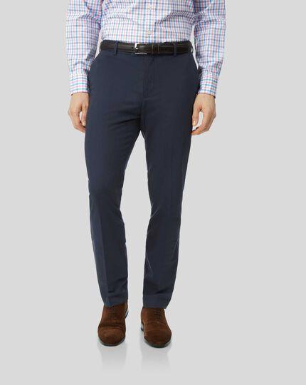 Cotton Linen Stretch Pants - Navy
