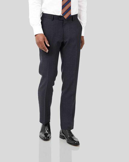 Semi-Plain Suit Trousers - Navy