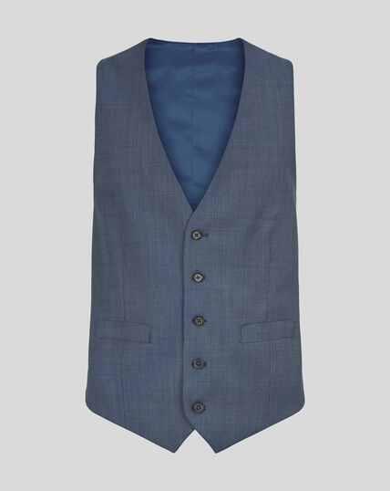 Textured Suit Vest - Light Blue