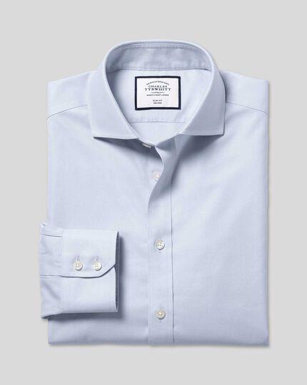Spread Collar Non-Iron Twill Shirt - Silver
