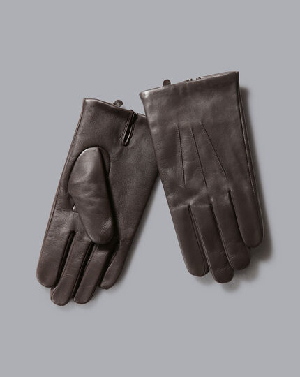 Leather Touch Screen Gloves - Dark Chocolate