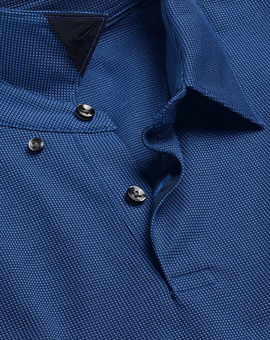 Jacquard-Polo mit Punkten - Marineblau & Königsblau