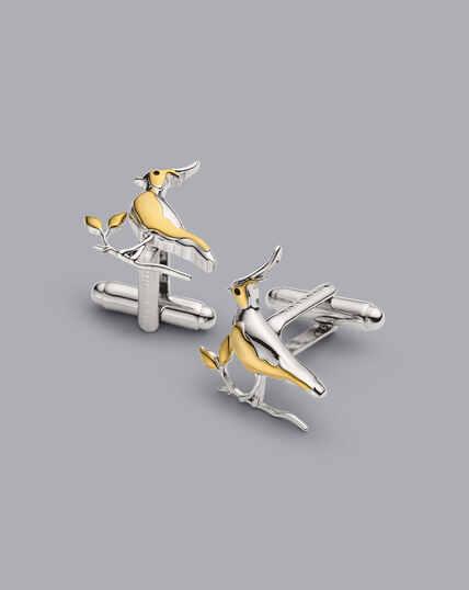 Manschettenknöpfe mit Kiebitz-Design - Gold & Silber
