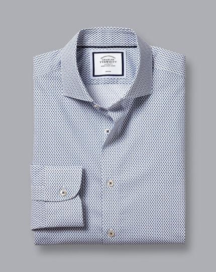 Semi-Cutaway Collar Non-Iron Hoop Print Shirt - White & Navy