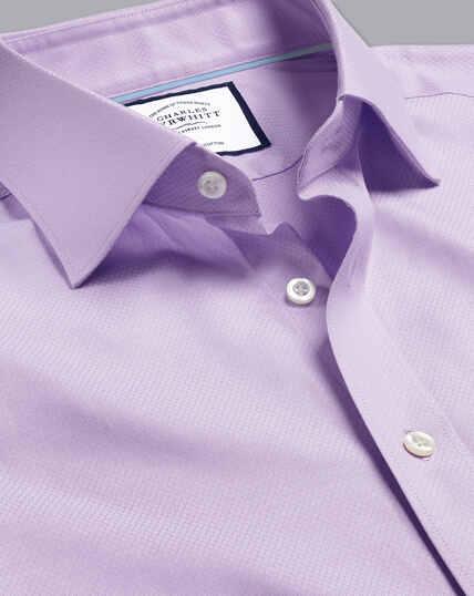 Semi-Spread Egyptian Cotton Deco Weave Shirt - Lilac Purple