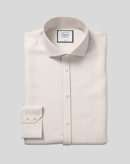Cutaway Collar Non-Iron Cotton Slub Shirt - Stone