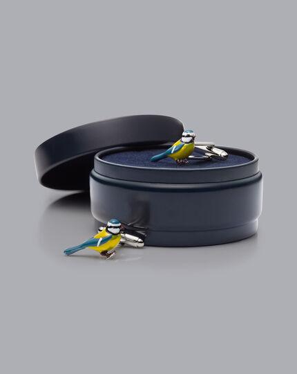 Blue Tit Cufflinks - Silver