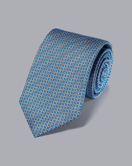 Silk Chain Print Tie - Blue