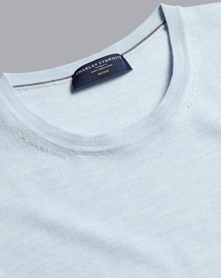 Merino Crew Neck Sweater - Light Blue