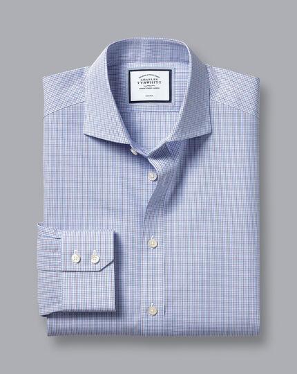 Spread Collar Non-Iron Poplin Check Shirt - Purple & Blue