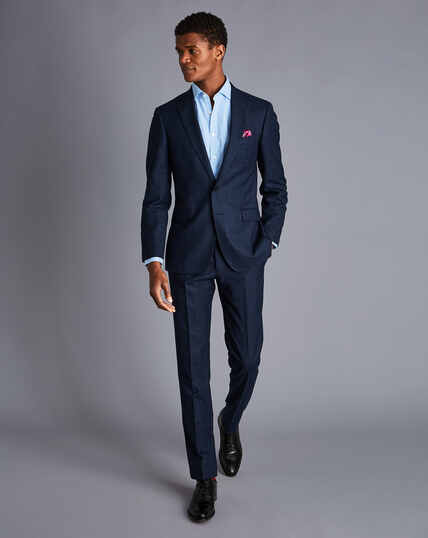 Textured Tonal Check Business Suit Jacket - Midnight Blue