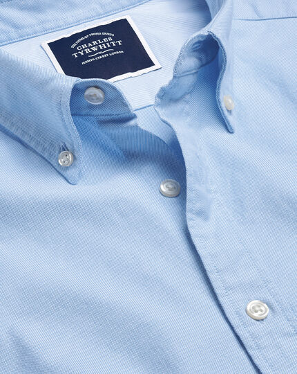 Button-Down Collar Washed Oxford Shirt With Pocket - Sky