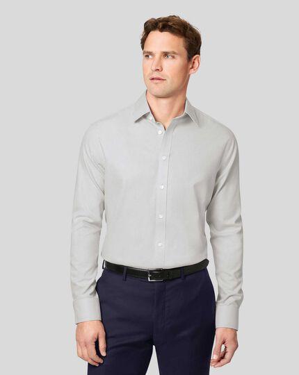 Non-Iron Mini Herringbone Shirt - Grey
