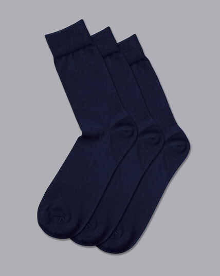 Cotton Rich 3 Pack Socks - Navy