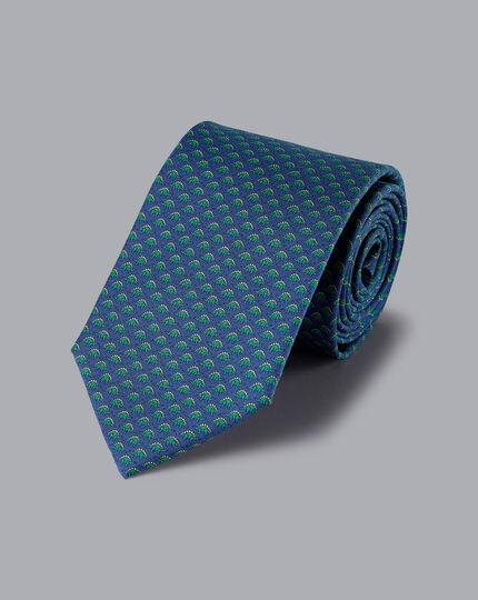 Krawatte aus Seide mit Dinosaurier-Motiv - Marineblau & Grün