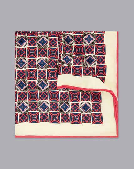 Tile Print Pocket Square - Coral