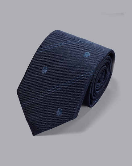 England Rugby Club Stripe Tie With Rose Motif - Navy
