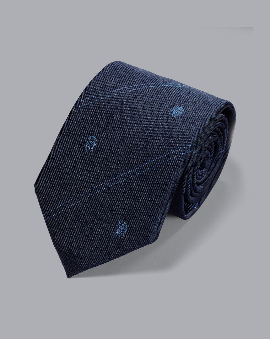 Krawatte mit Clubstreifen und England Rugby-Rose - Marineblau